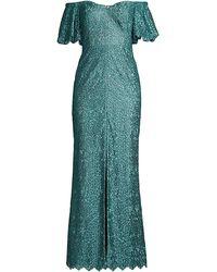Aidan Mattox Off-the-shoulder Puff-sleeve Petal Evening Gown - Green