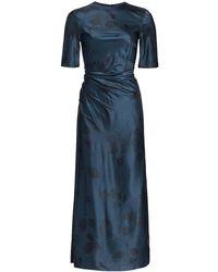 Alejandra Alonso Rojas Printed Gathered Silk Midi Dress - Blue