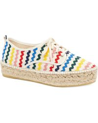 Loeffler Randall Woman Frayed Embroidered Canvas Espadrilles Blue Size 40 Loeffler Randall