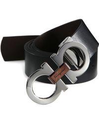 Ferragamo - Double Gancini Reversible Leather Belt - Lyst