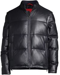 Isaia Isaia Leather Down Puffer - Black