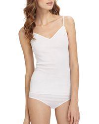Hanro Cotton Seamless V-neck Camisole - White