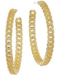 Fallon Yacht Club Pave Curb Chain Hoop Earrings - Metallic