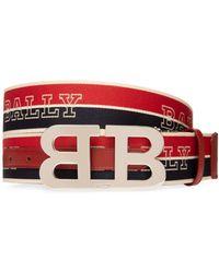 Bally B Buckle Striped Reversible Logo Belt - Red