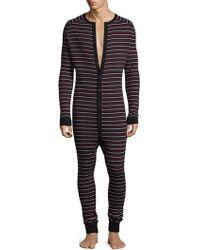 2xist Stripe Cotton Union Suit - Black