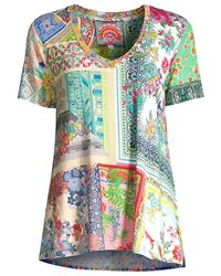 Johnny Was Anika Patchwork Floral V-neck Swing T-shirt - Green
