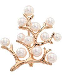 Mikimoto 18k Rose Gold, 5.25mm Round White Akoya Pearl & 4mm White Akoya Pearl Filigree Brooch