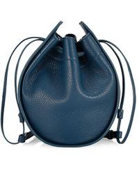 The Row Drawstring Leather Pouch - Blue