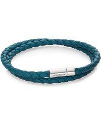 Tateossian Scoubidou Leather & Sterling Silver Braided Double-wrap Bracelet - Metallic