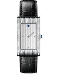 Boucheron Reflet Stainless Steel, Diamond, Sapphire & Alligator Strap Large Watch - Black
