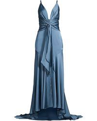 Fame & Partners Lake Draped Satin Gown - Blue