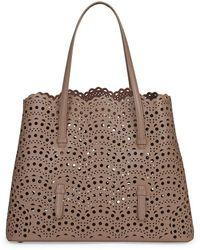 Alaïa Mina Perforated Leather Tote - Brown