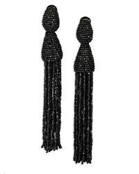 Oscar de la Renta Long Beaded Tassel Clip-on Earrings - Black