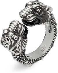 Gucci - Vintage Sterling Silver Tiger Heads Ring - Lyst