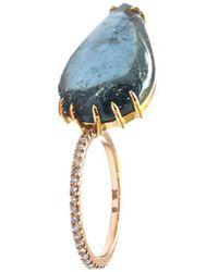 Sharon Khazzam Shareena 18k Rose Gold, Blue Tourmaline & Diamond Leaf-shaped Ring