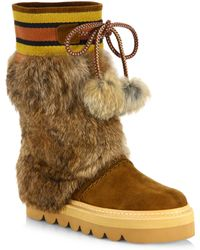 See By Chloé | Oxana Rabbit Fur & Suede Boots | Lyst