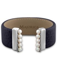 Majorica - New Isla 5mm Organic Pearl & Leather Open Bangle/navy - Lyst