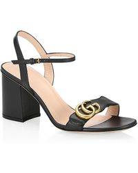 Gucci GG Marmont Block-heel Leather Sandals - Black