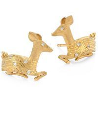 Temple St. Clair Deer Diamond & 18k Yellow Gold Stud Earrings - Metallic