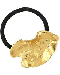 Lelet Metail 14k Goldplated Stainless Steel, Brass & Elastic Pony Cuff - Metallic