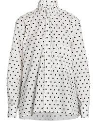 Plan C Polka Dot Cotton Blouse - White