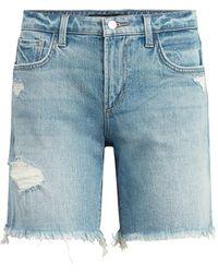Joe's Jeans The Lara Distressed Denim Bermuda Shorts - Blue