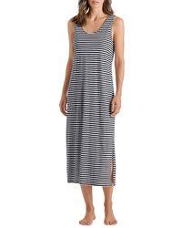 Hanro Laura Striped Midi Dress - Blue