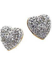 Lele Sadoughi Jeweled Heart Stud Earrings - Metallic