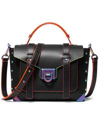 MICHAEL Michael Kors Medium Manhattan Iridescent Studded Leather Satchel - Black