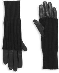 Carolina Amato Touch Tech Leather & Knit Gloves - Black