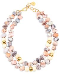 Nest - Natural Pink Botswana Agate And Bone Necklace - Lyst