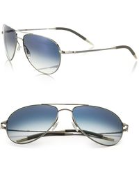 Oliver Peoples Benedict 59mm Chrome Aviator Sunglasses - Blue
