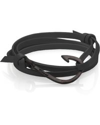 Miansai - Coated Brass Anchor Leather Bracelet - Lyst