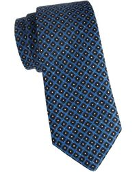 Isaia Square Wool & Silk Tie - Blue