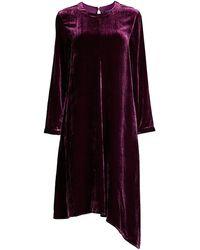 Eileen Fisher Velvet Asymmetric Long-sleeve Dress - Multicolor