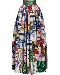 Dolce & Gabbana Patchwork Poplin Maxi Full Skirt - Blue