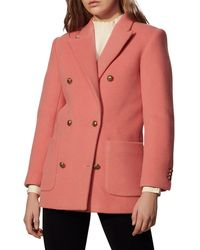 Sandro Marcus Double-breasted Wool-blend Pea Coat - Pink
