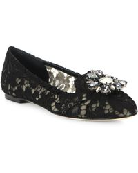 Dolce & Gabbana - Embellished Lace Loafers - Lyst