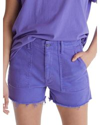 Mother Shaker Cropped Jean Shorts - Purple