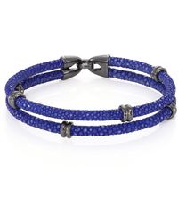 Stinghd Blackened Silver & Stingray Wrap Bracelet - Blue