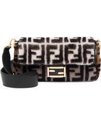 Fendi - Ff Shearling Baguette Shoulder Bag - Lyst