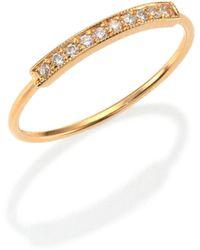 Zoe Chicco - Pavé Diamond & 14k Yellow Gold Horizontal Bar Ring - Lyst