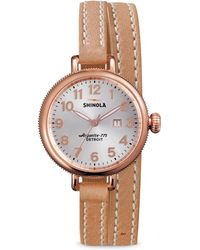 Shinola - Birdy Rose Goldtone Pvd Stainless Steel & Leather Double-wrap Watch - Lyst