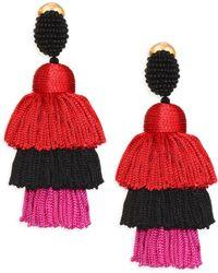 Oscar de la Renta - Silk Tiered Tassel Drop Earrings - Lyst