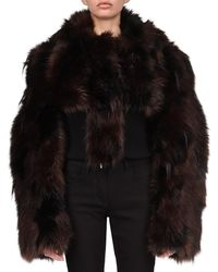 Givenchy Cropped Faux Fur Jacket - Black
