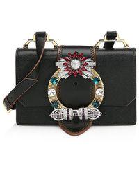 Miu Miu Crystal-embellished Madras Leather Shoulder Bag - Black