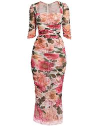 Dolce & Gabbana Floral Tulle Ruched Midi Dress - Pink