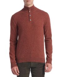 Saks Fifth Avenue - Collection Cashmere Mockneck Elbow Patch Sweater - Lyst