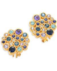 Gurhan - Pointelle Diamond, Multi-stone & 24k Yellow Gold Stud Earrings - Lyst