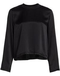 ATM Silk Charmeuse Long-sleeve Blouse - Black